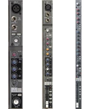 Multi-tracking in the Digital Age A small, medium, and larger channel strip