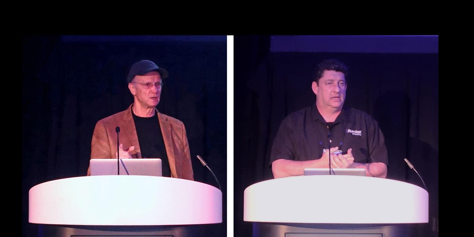 Pictured L-R: studio designer Carl Tatz, and Robb Wenner, Auralex Marketing Manager/Artist Services