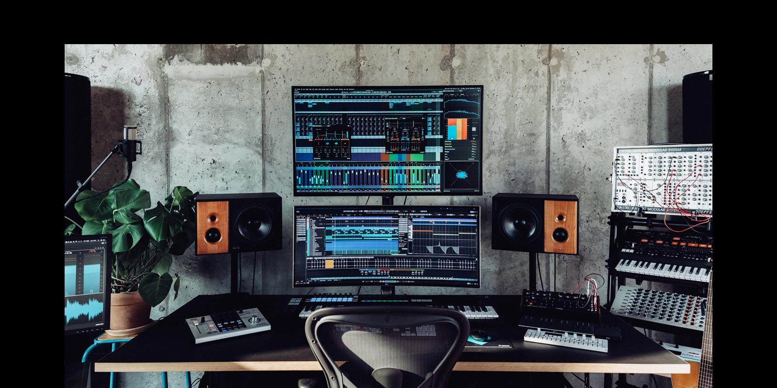 Steinberg Cubase 11 on screen in studio