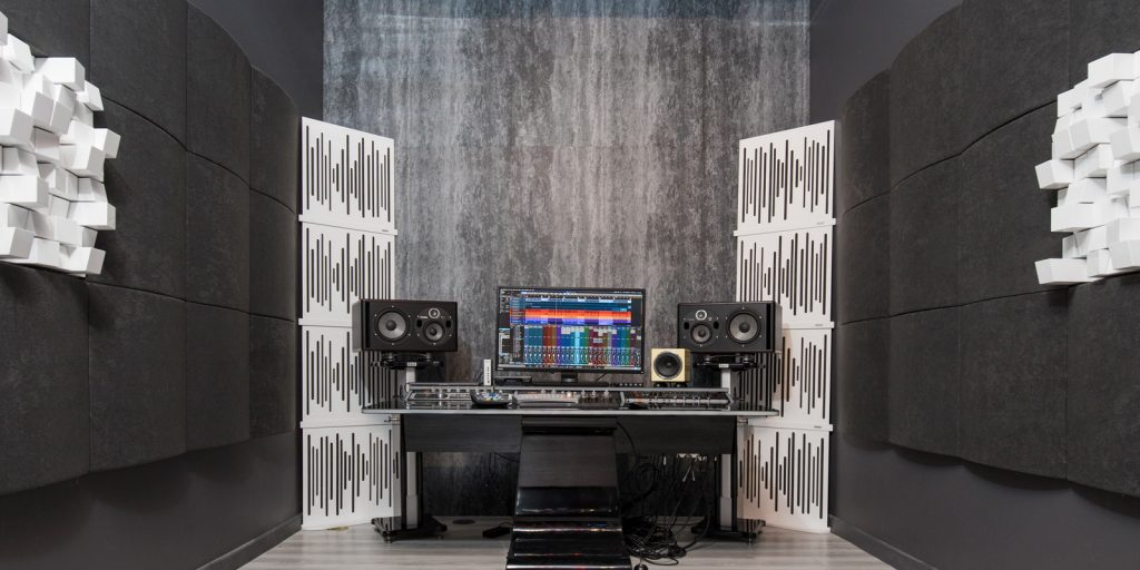Studio setup with Vicoustic recycled plastic acoustic panels