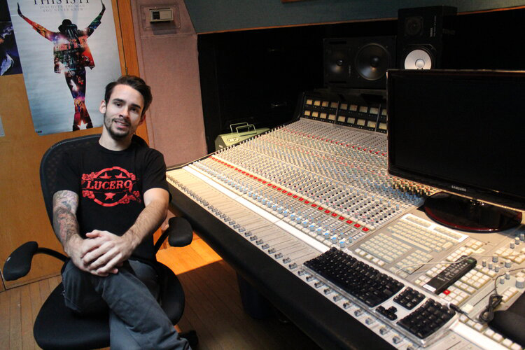 CRAS graduate Zach Rippy in Studio B, Cove City Sound Studios (Glen Cove, N.Y.); Rippy also works out of his own studio (Sound Signal Audio)